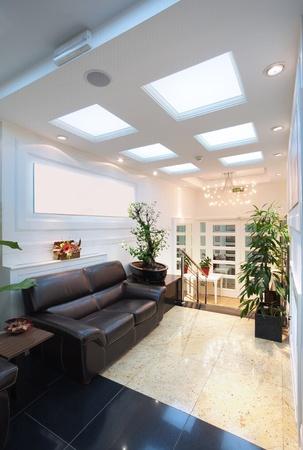 Entrance of a hotel, interior design.
