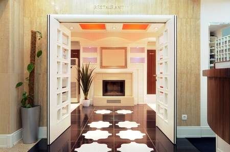 entrance hall: Entrance of a hotel restaurant, interior design. Stock Photo