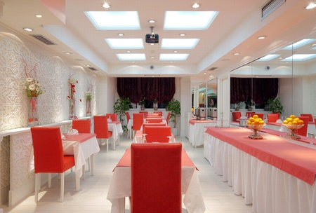 ceiling lamps: Interior of a restaurant, modern design.
