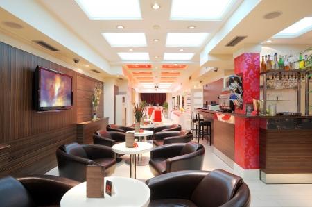 Interior of a restaurant, modern design.  photo