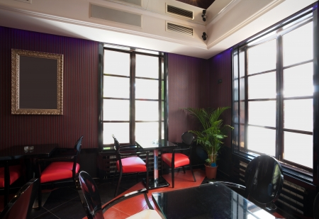 Interior of a cafe, mixed vintage and modern style of design. photo
