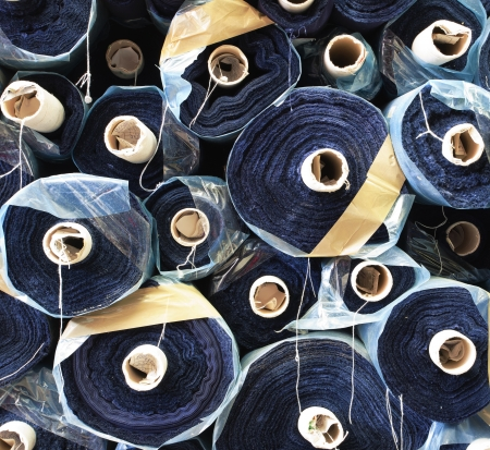 fabric roll: Details of a raw materials for sewing company.  Stock Photo
