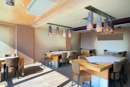 家具和裝修的一間餐廳,現代風格,一天的時間。