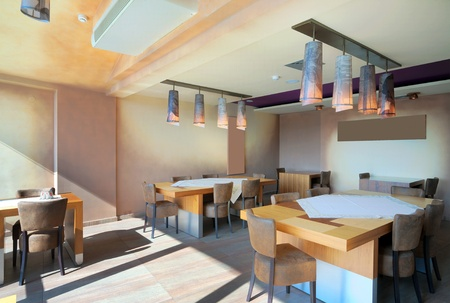 ceiling tile: Furniture and decoration of a restaurant, modern style, day time.