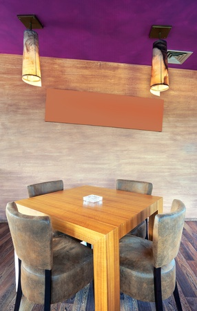 Wooden table and leather chairs in a restaurant.  photo