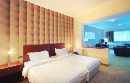 dwelling: Interior of a modern empty hotel apartment.  Stock Photo