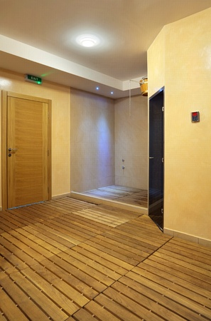 Interior of a hotel sauna, modern wooden design.  Stock Photo - 11184169