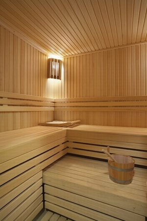 Inter of a hotel sauna, modern wooden design.  Stock Photo - 11184172