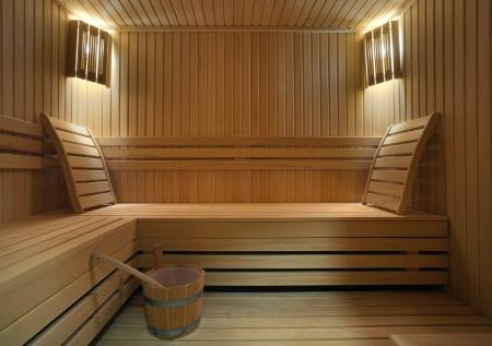 Interior of a hotel sauna, modern wooden design. Stock Photo - 11184170