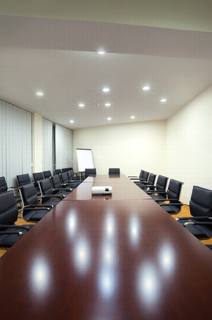 table and chairs: Interior of a conference room in a hotel.  Stock Photo
