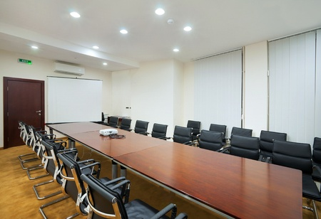 conference table: Interior of a conference room in a hotel.  Stock Photo