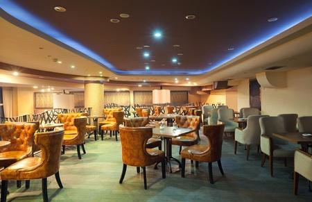 night club interior: Interior of a modern restaurant, classical design, by night.