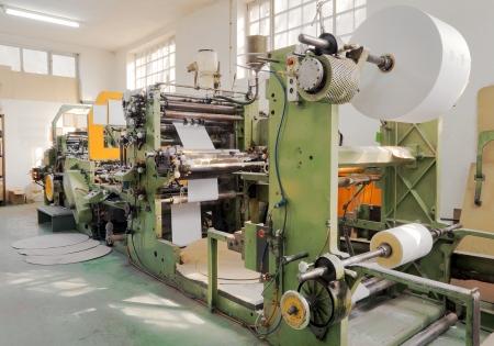 印刷機的工廠裡面的細節。 版權商用圖片