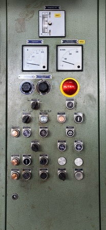 electrical materials: Details of a control desk,  part of a printing machine. Stock Photo