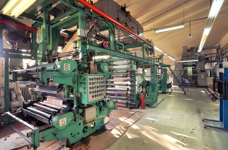 一個工廠裡面的印花機的詳細內容。