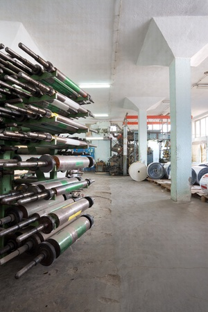 Interior of a factory, old machine for printing. photo