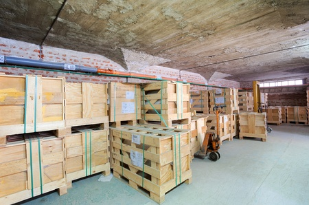 Interior of a factory, warehouse of raw materials. photo