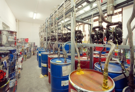 mixing: Interior of a factory room for mixing inks, used in printing.