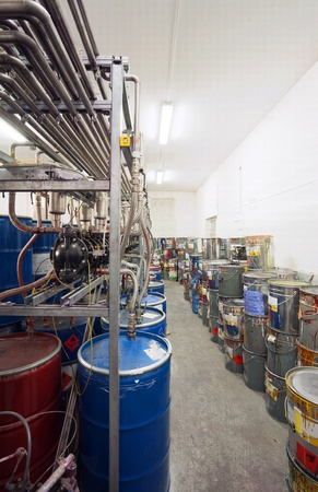 color mixing: Interior of a factory room for mixing inks, used in printing.