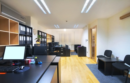 Interior of an office, modern design, simple furniture.  photo