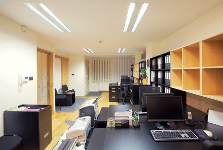 office interior design: Interior of an office, modern design, simple furniture.  Stock Photo