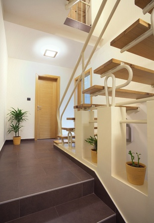 Interior of an office building, staircases details.  Stock Photo
