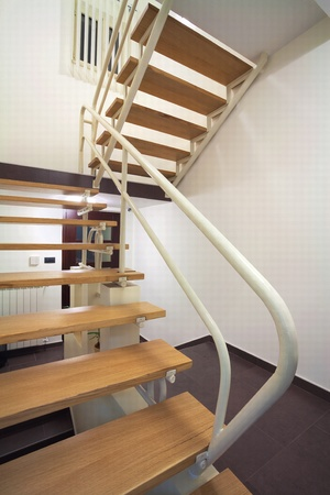 Interior of an office building, staircases details.  photo