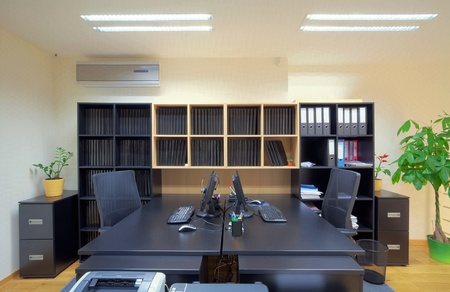 seating furniture: Interior of an office, modern and simple design. Stock Photo