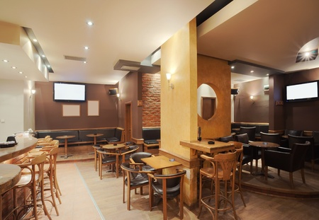 bar interior: Modern and simple cafe interior with wooden classical furniture.