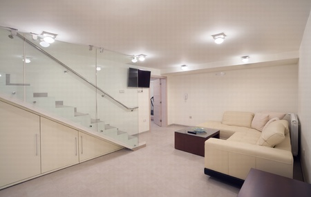 Interior of a big house, underground room for rest and entertainment.
