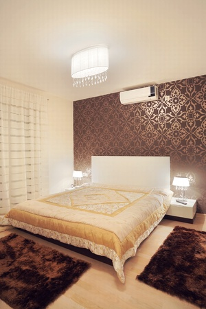 luxury hotel room: Interior of a apartment room, modern furniture and design.  Stock Photo