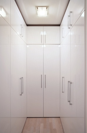 Interior of a simple and large wardrobe.
