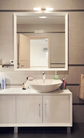 Interior of a modern toilet room.  Stock Photo