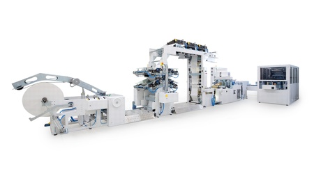 New printing machine, isolated on white background.  Stock Photo