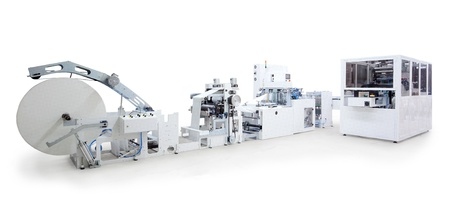 production line: Parts and details of a printing and packaging machines.