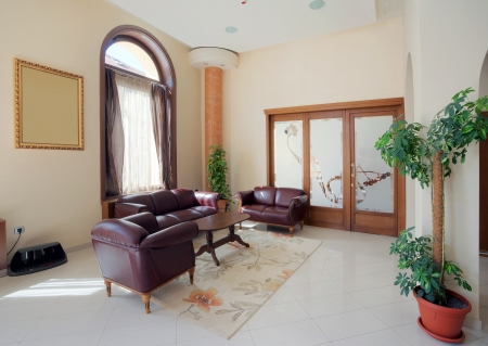 Interior of a hotel waiting room.  photo