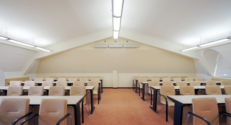 class room: Interior of a conference room, modern and simple design.