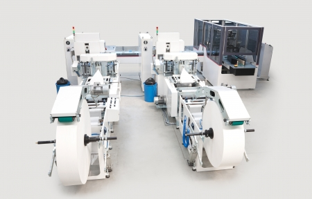 handkerchiefs: Details of a packaging and printing machines for handkerchiefs.