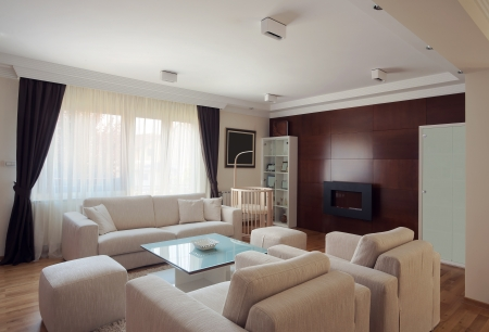 Interior of a modern living room in white.  Stock Photo - 15155303
