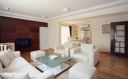 Interior of a modern living room in white.  Stockfoto