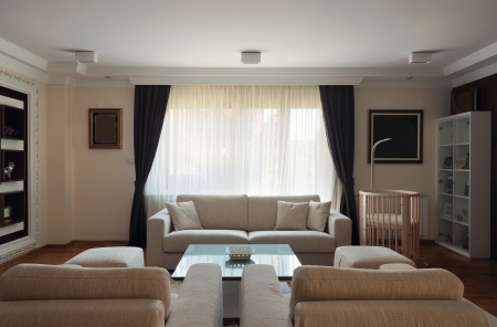 Interior of a modern living room in white.  photo