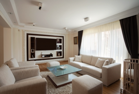 living room window: Interior of a modern living room in white.  Stock Photo