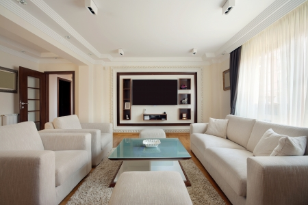 luxury room: Interior of a modern living room in white.  Stock Photo
