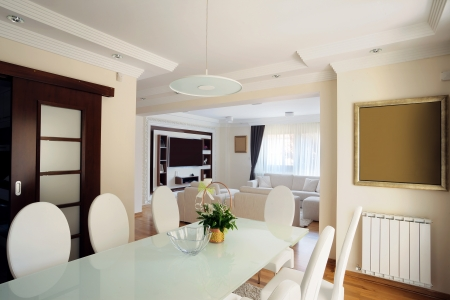 Interior of a modern dining room.  Stock Photo