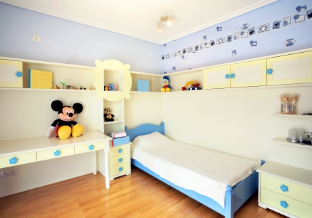 Interior of a kid bedroom, simple, modern and new.  Фото со стока