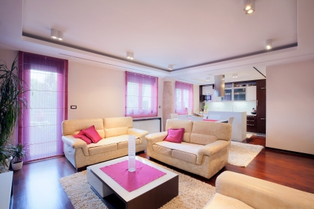 Interior of a modern home with furniture.  Stock Photo