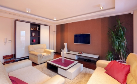 Interior of a modern home with furniture.