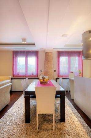 Interior of a dining room, modern home design.  Stockfoto