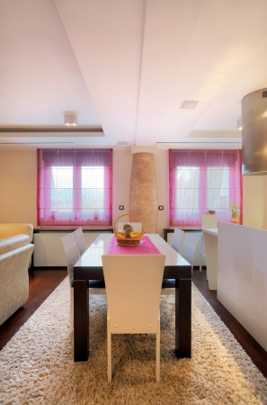 Interior of a dining room, modern home design.  Stock Photo