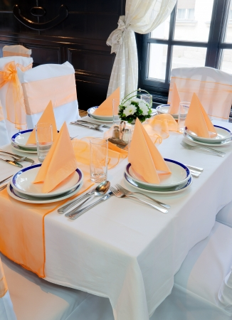 handkerchiefs: Interior of a restaurant prepared for party or wedding ceremony.  Stock Photo